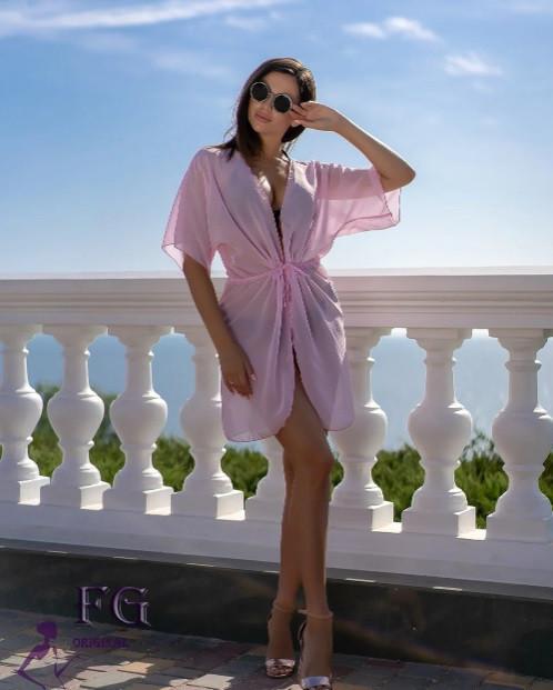 Короткий пляжный халат розовый - 42-44р. (бюст 84-88см, длина 80-90см), шифон