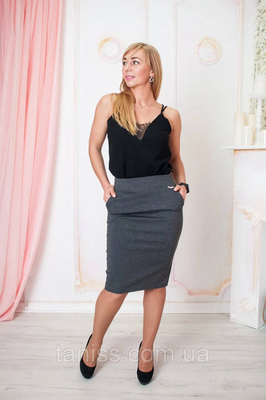 """Женская, стильная юбка  """"Сандра"""", ткань трикотаж Алекс, р-р 44, 46 ,серый , спідниця"""