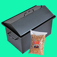Коптильня горячего копчения 2мм 500х320х330мм Крашеная с Гидрозатвором (коптилка,каптилка) + Щепа, фото 1