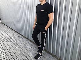 Літній чоловічий спортивний костюм штани і футболка Fila (репліка) повністю чорний