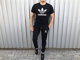 Молодіжний літній спортивний костюм Adidas пелюстки чорний (репліка)