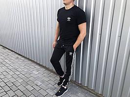 Штани і футболка чоловіча річний комплект лого Adidas чорний (репіка)