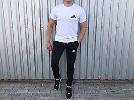Літній чоловічий комплект футболка+штани лого Adidas білий з чорним (репліка)