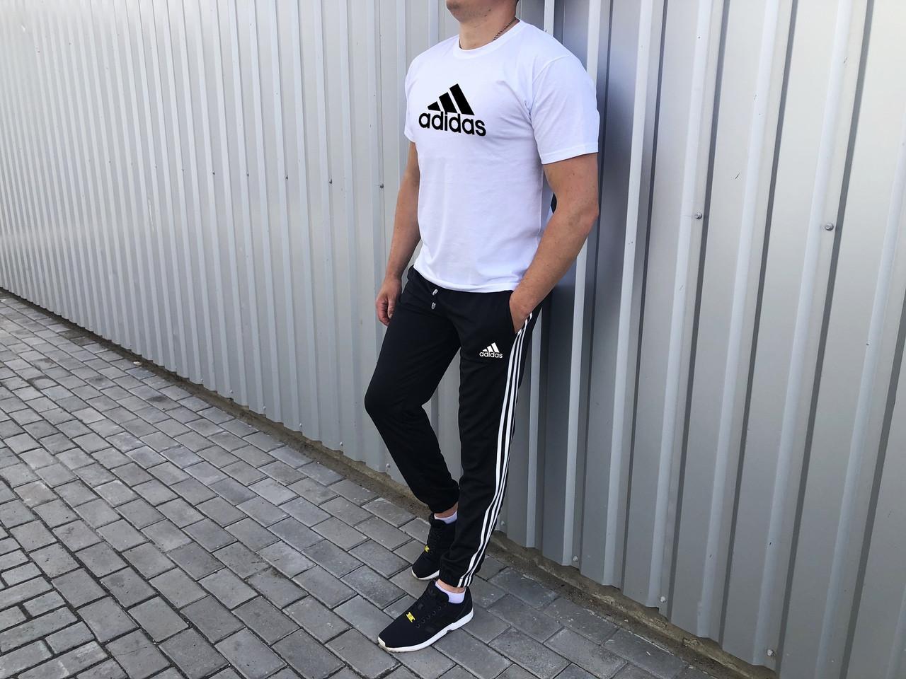 Штаны и футболка комплект летний мужской лого Adidas черный с белым (реплика)
