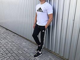 Штани і футболка комплект літній чоловічий лого Adidas чорний з білим (репліка)
