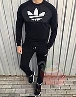 Стильний весняно/літній чоловічий костюм лого Adidas штани+світшот чорний (репліка)