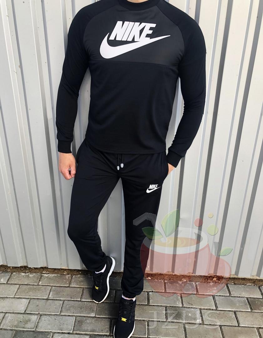 Летний мужской спортивный костюм свитшот+штаны лого Nike черный (реплика)
