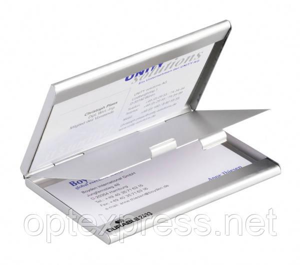 Визитница карманная металлическая BUSINESS CARD BOX DUO DURABLE 2433 23