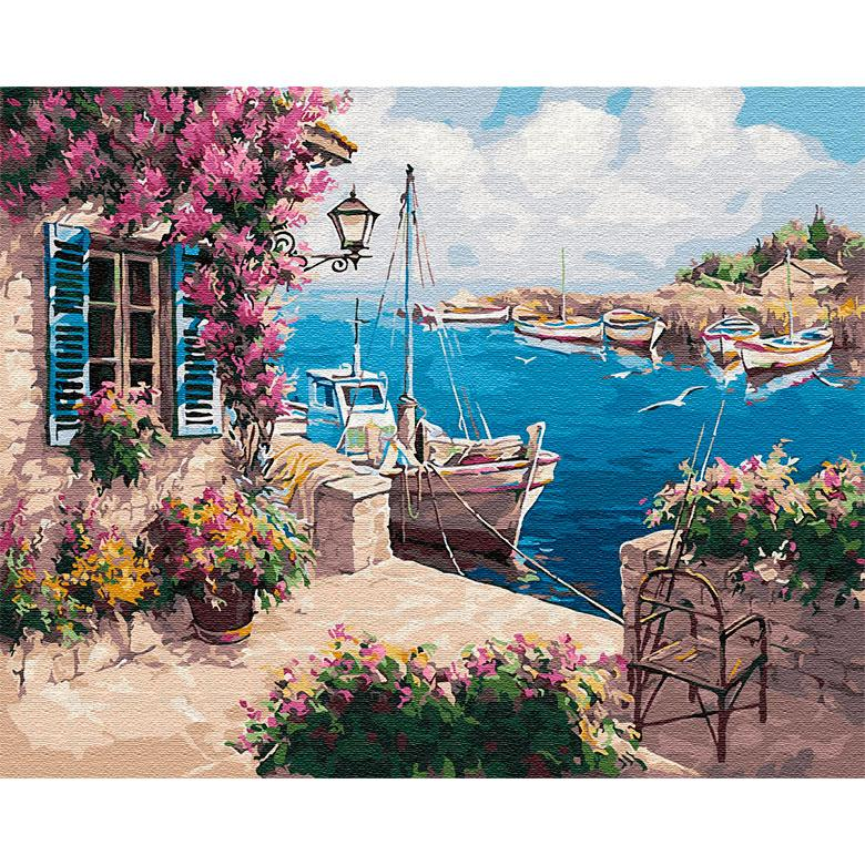 Картина раскраска по  номерам на холсте - 40*50см BrushMe GX29487 Рыбацкая бухта
