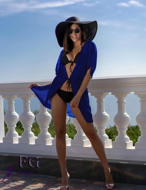 Короткий пляжный халат электрик - 42-44р. (бюст 84-88см, длина 80-90см), шифон