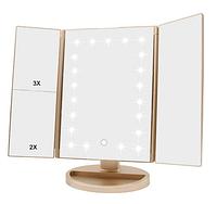 Зеркало LED макияжное настольное прямоугольное тройное/ косметическое зеркало/ увеличительное зеркало