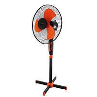 Вентилятор напольный Domotec MS-1619, электровентилятор бытовой, Чёрно-оранжевый, в Украине, фото 1
