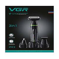 Профессиональная машинка для стрижки волос с насадками VGR V-016 / триммер для волос / бoдигpумep