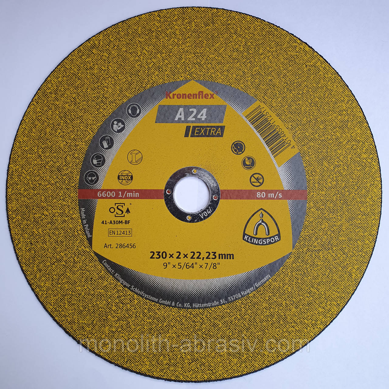 Отрезной круг 230*2*22 Kronenflex