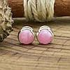 Серебряные серьги гвоздики Мерида размер 6х6 мм кварц розовый вес 1.4 г, фото 2