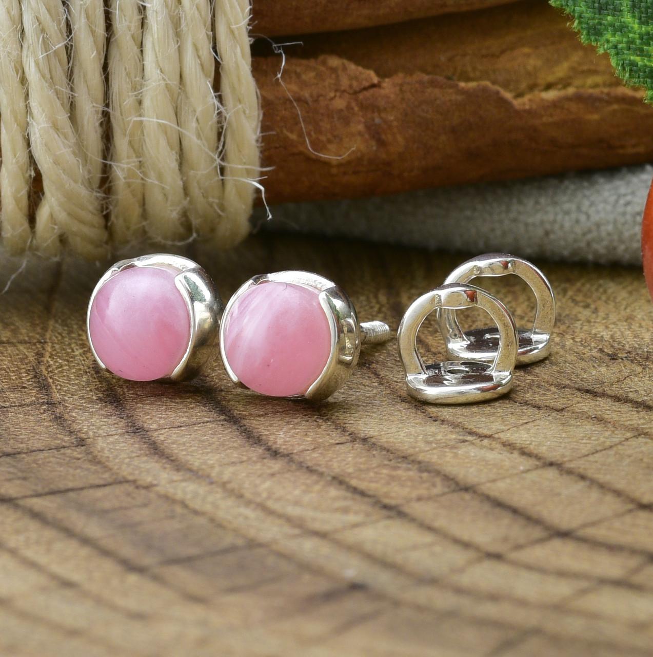 Серебряные серьги гвоздики Мерида размер 6х6 мм кварц розовый вес 1.4 г