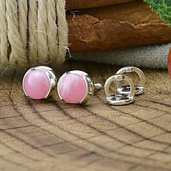 Срібні сережки гвоздики Меріда розмір 6х6 мм кварц рожевий вага 1.4 м