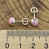 Серебряные серьги гвоздики Мерида размер 6х6 мм кварц розовый вес 1.4 г, фото 3