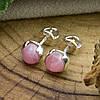 Серебряные серьги гвоздики Мерида размер 6х6 мм кварц розовый вес 1.4 г, фото 4