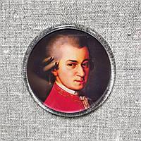 В. Моцарт. Круглый акриловый магнит с портретом