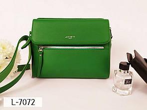 Женская зеленая сумочка прямоугольная с ремешком и наружными карманами L-7072
