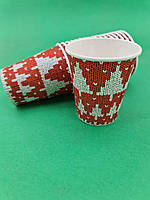 "Стакан для напитков 175мл ""Елка на красном"" Маэстро (50 шт), фото 1"