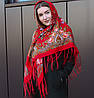 Rрасный павлопосадский хустку для дівчини (120х120 см, червоний, 80%-шерсть)