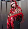 Rрасный павлопосадский платок для девушки (120х120 см,  красный, 80%-шерсть)
