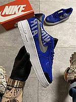 Кроссовки мужские Nike Air Force 1 Low Under Construction Blue (Синий)  в стиле Найк Аир Форс синие