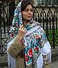 Большой белый платок с цветами (140*140 см, белый , 80% шерсть)