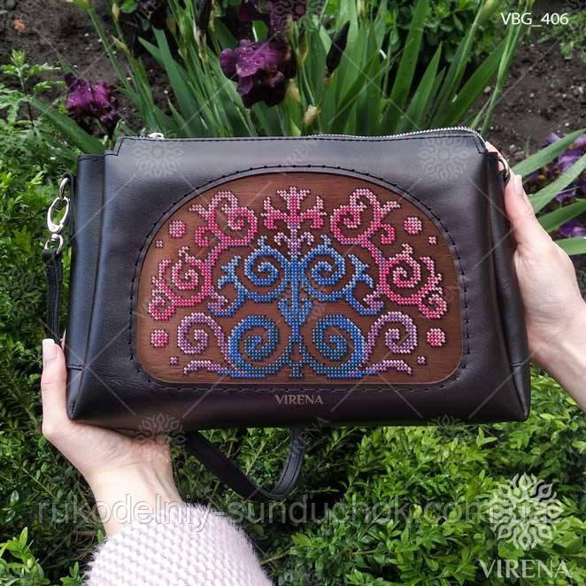 Пошитая сумка из натуральной кожи с деревянной вставкой  Virena VBG_406