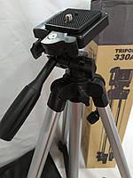 Телескопический штатив с осью напольный Tripod 330А с чехлом, трипод, тренога Высота 51-134см, фото 1
