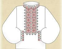 """Заготовка красно-черная """"Цветок"""" для вышивания вставки мужской рубашки бисером"""