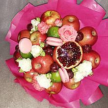 Фруктовий букет подарунковий вітальний для жінки з фруктів і квітів