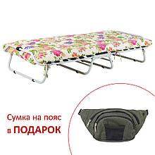 Ліжко на ламелях d25 мм (Бязь Квіти)