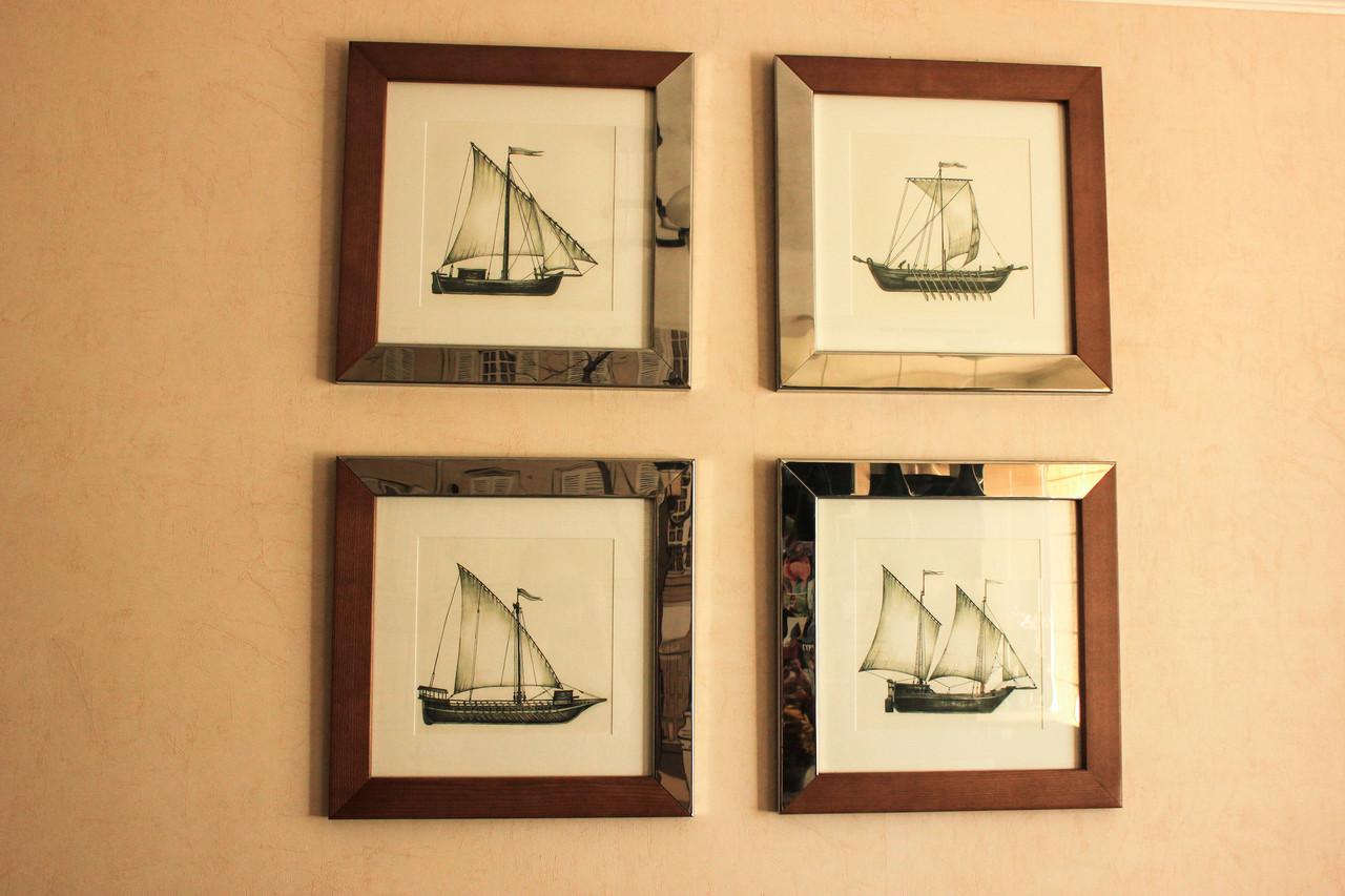 """Картины """"Казацкие лодки"""" из дерева и нержавеющей стали"""