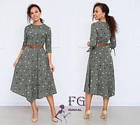 Платье женское миди в горох цвета хаки 42 размер