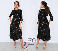 Платье женское миди черное в горох 42 размер