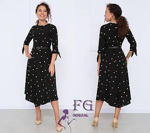 Платье женское миди черное в горох 42 размер, фото 2