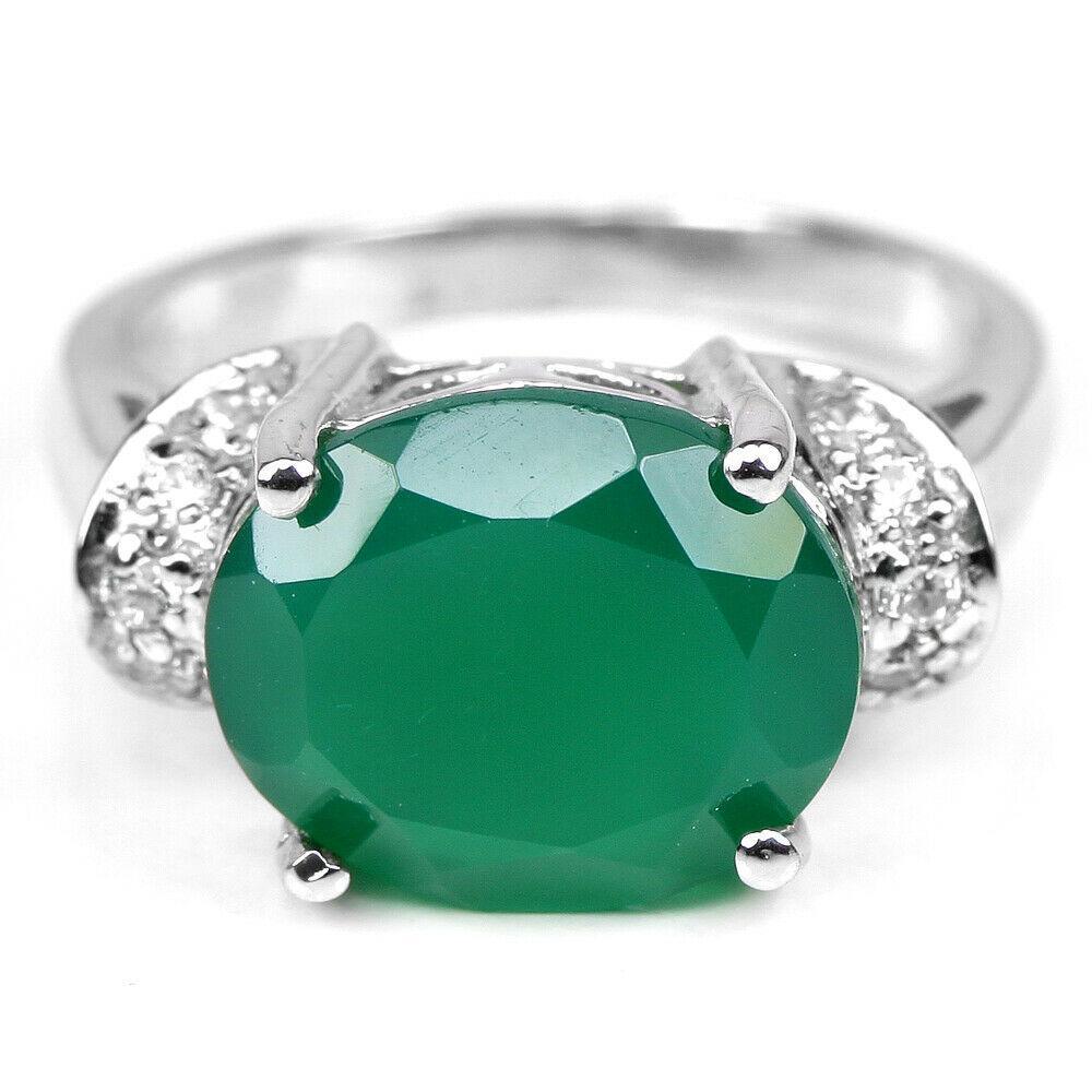 Серебряное кольцо с авантюрином зеленым, 12*10 мм., 2362КЦА