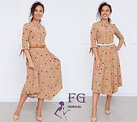 Платье женское капучино миди в горох