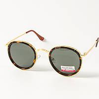 Женские поляризационные  солнцезащитные круглые очки (арт. P3389/3) с леопардовой оправой