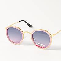 Женские поляризационные  солнцезащитные круглые очки (арт. P3389/5) розово-голубые
