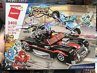 Конструктор Brick 3402, Qman машина, мотоцикл, ТЕМНЫЙ РОДСТЕР 371 деталей, 4 фигурки, в коробке 35х25х6