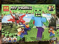 Конструктор Minecraft LARI Майнкрафт Битва с Зомби-великаном, 180 деталей, 3 фигурок, LARI 11263