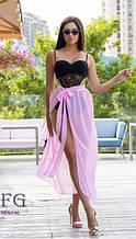 Парео-юбка пляжная розовая - размер (универсальный), длина 97см, шифон