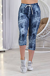 """Женские батальные трикотажные бриджи на хлопковой основе с принтом """"джинс"""" Размеры 52 и 54"""