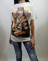 Женская белая  летняя футболка с принтом Мона Лиза