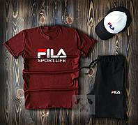 Комплект летний Футболка + Шорты Fila мужские   спортивный костюм, фото 1
