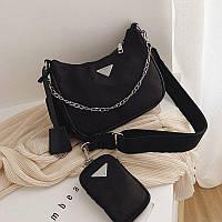 Сумка женская стильная нейлоновая в стиле Prada Re-edition 2005. Сумочка текстильная (черная)